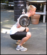 Free weight training exercises- how to do a squat, as seen from the side.