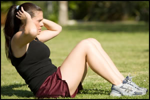 Like a regular sit-up, except starting at the top, negative sit-ups  will tire your upper abdominal muscles.
