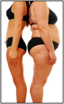 Two of the three major different body types, the ectomorph (left) and endomorph (right).