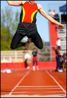 Use these free plyometric exercises to build explosive strength, like this long-jumper.