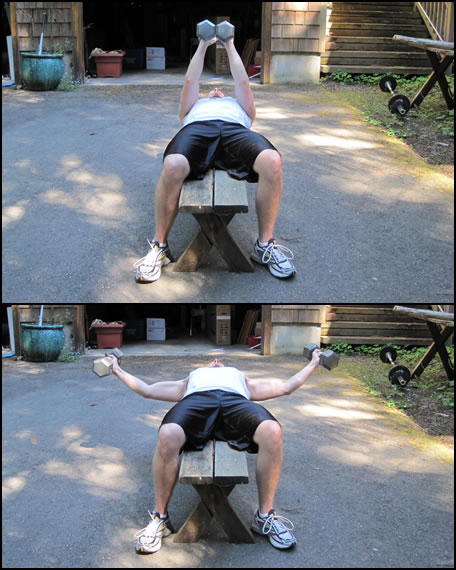 Free weight training exercises- how to do a dumbbell lat fly with bent arms.