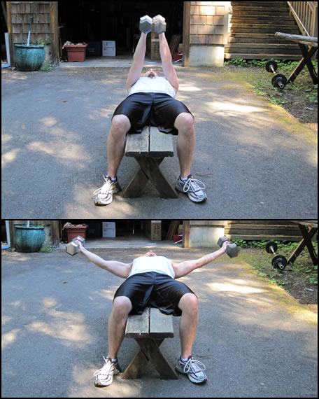 Free weight training exercises- how to do a dumbbell lat fly with straight arms.
