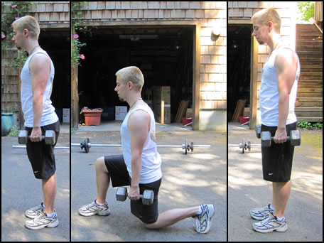 Free weight training exercises- how to do lunges.