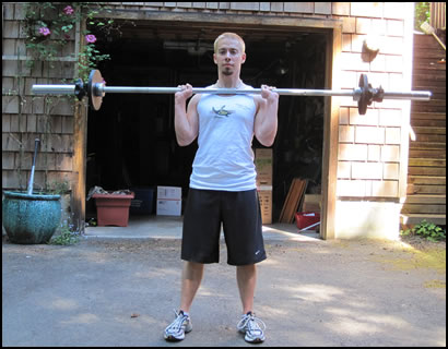 Free weight training exercises- how to do a barbell shoulder press.
