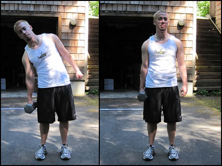 Free weight training exercises- how to do dumbbell side bends.