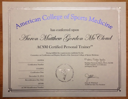 My ACSM Certification Certificate!
