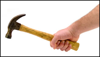 Grip strengthening exercises, like these hammer casts, are easy to do.