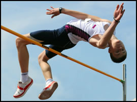 One of the main uses of plyometric exercises is to increase vertical jump height, like for this high-jumper.