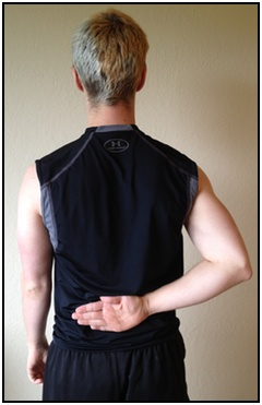 Shoulder stretches, hand to lower back 1.