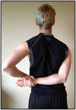 Shoulder stretches, hand to lower back 2.