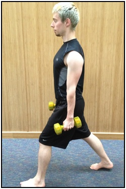 Split squats with weights, top.