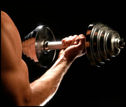 Weight lifting dumbbells is a great way to gain strength.