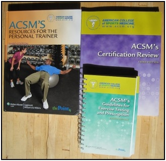 The ACSM Personal Trainer Certification study kit.