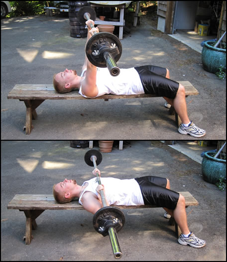 Free weight training exercises- how to do a barbell bench press.