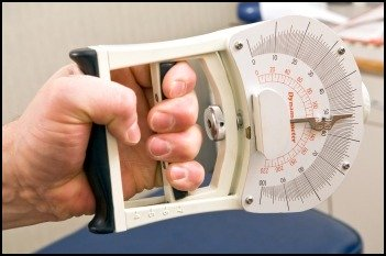 A hand dynamometer is the perfect way to do a grip strength test.