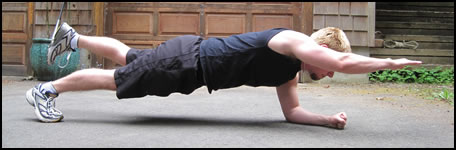 Plank exercises: The 2-point plank.