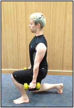 Split squats with weights, bottom.