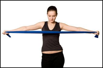 Rubber bands can be used in a strength training routine.