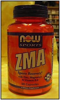 What a common ZMA supplement bottle looks like, by NOW Sport.